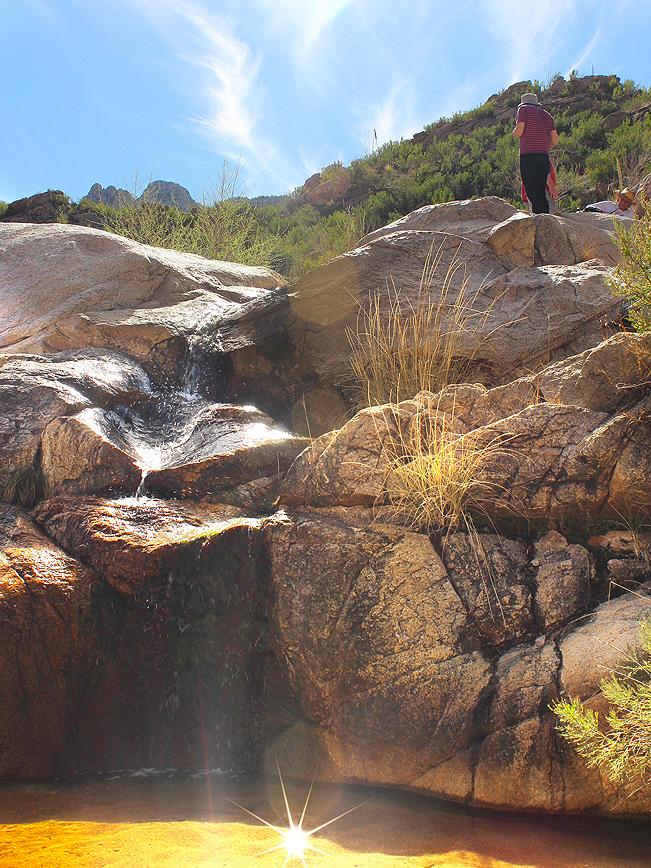 Hiker, Waterfall, Pool, Romero Hiking Trail, Santa Catalina Mountains, Romero Canyon, Tucson, Arizona, Tucson Area Hikes, Water Hikes
