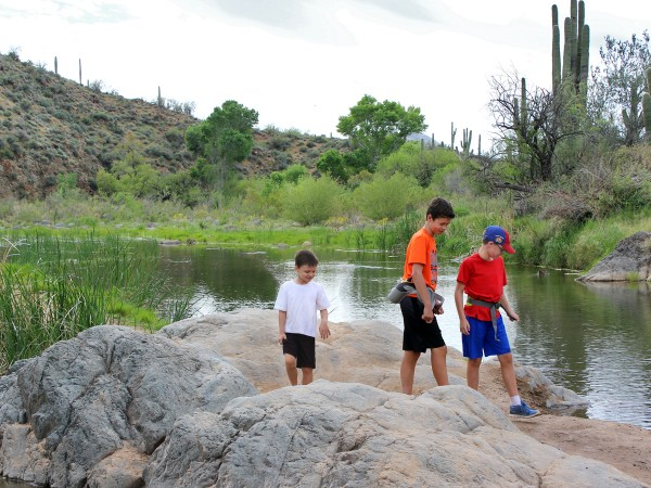 Landscape, View, Kids, Hikers, Boulders, Pond, Jewel of the Creek Hiking Trail, Jewel of the Creek Preserve, Cave Creek, Arizona, Phoenix Area, Family Hikes