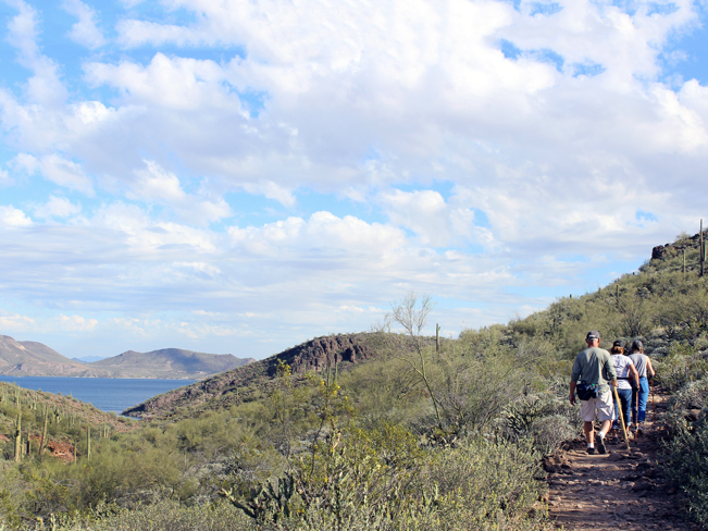 Landscape, View, Hikers, Pipeline Canyon Hiking Trail, Lake Pleasant, Lake, Mountains, Phoenix Area, Phoenix, Arizona, Family Hikes, Water Feature Hikes