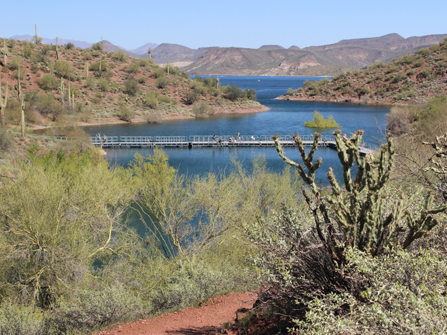 Landscape, View, Hikers, Floating Bridge, Pipeline Canyon Hiking Trail, Lake Pleasant, Phoenix Area, Phoenix, Arizona, Lake, Mountains, Family Hikes, Water Feature Hikes