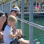 Mom, Boy, Fishing,Floating Bridge, Lake Pleasant, Lake, Pipeline Canyon HIking Trail, Phoenix Area, Phoenix, Arizona, Cove, Hikers, Family Hikes, Water Hikes