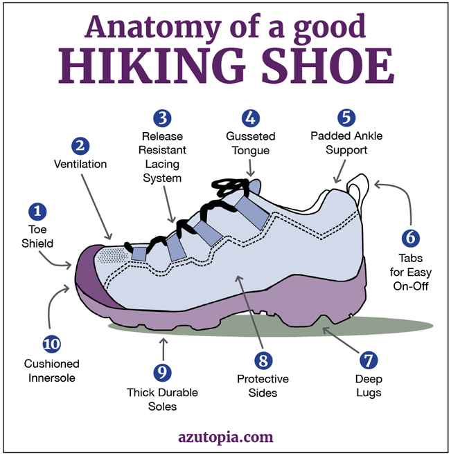 Illustrated chart showing the anatomy of a good hiking shoe or boot., Choosing the Perfect Hiking Shoe or Boot, AZ Utopia