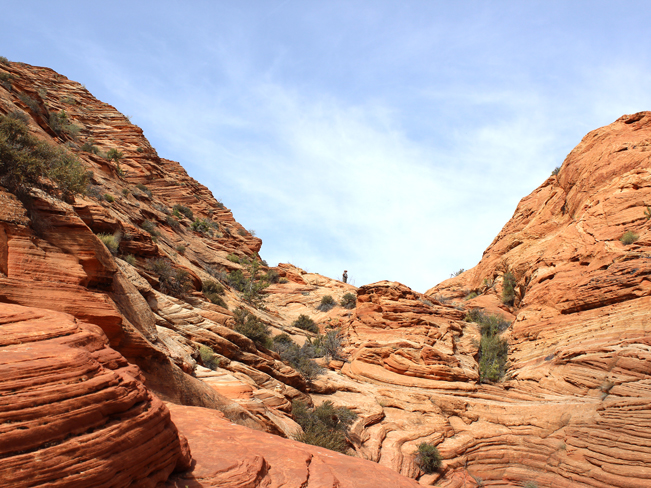 Landscape, View, Hiker, Red Rocks, Rock Formations, Passage, Wire Pass Trail, Vermillion Cliffs National Monument in Southern Utah. Easy Hikes. Grand Canyon Area.
