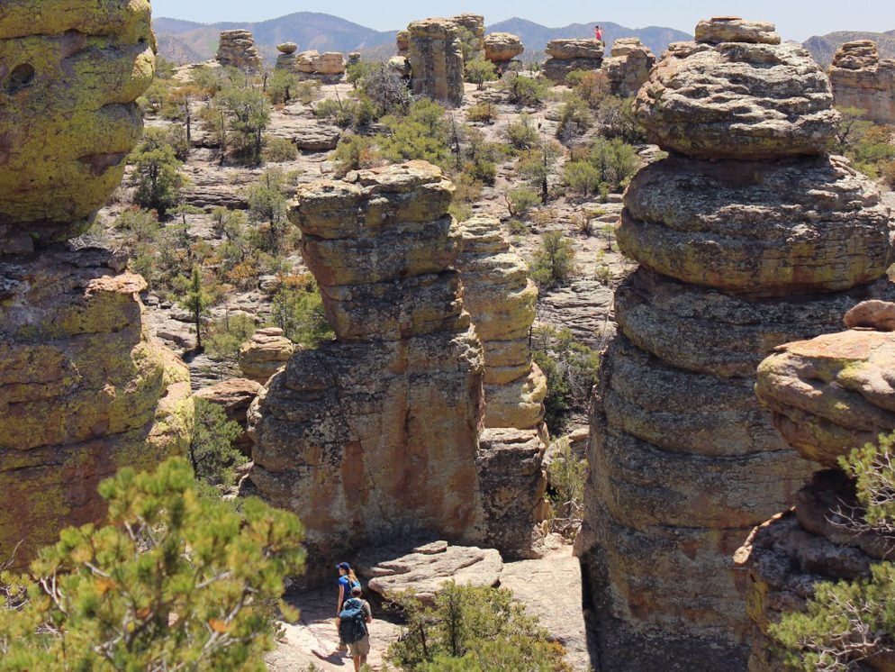 Landscape, View, Hikers, Big Balanced Rock Hiking Trail, Heart of the Rocks Hiking Trail Loop, Chiricahua National Monument, Willcox, Arizona, Stone, Rock Formations, Hoodoos, Moderate Hikes, Southern Arizona Hikes, Tucson Area Hikes, Pet Friendly Hikes.