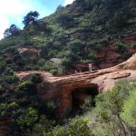 Landscape, Hikers, Natural Red Rock Bridge, Vultee Arch, Sedona, Arizona, Sterling Pass Hiking Trail, Difficult Hikes, Sedona Area Hikes, Pet Friendly Hikes