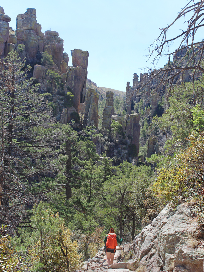 Landscape, View, Female, Hiker, Hoodoos, Ed Riggs Hiking Trail, Chiricahua National Monument, Heart of the Rocks, Arizona, Tucson, Tucson Area Hikes, Moderate Hikes