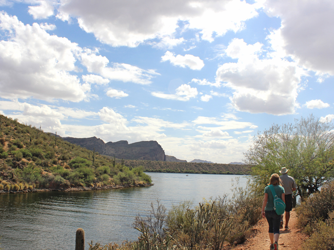 Landscape, View, Hikers, Cove, Butcher Jones Recreational Area, Saguaro Lake, Arizona, Butcher Jones Hiking Trail. Moderate Hikes. Phoenix Area Hikes. Family Friendly Hikes. Pet Friendly Hikes.
