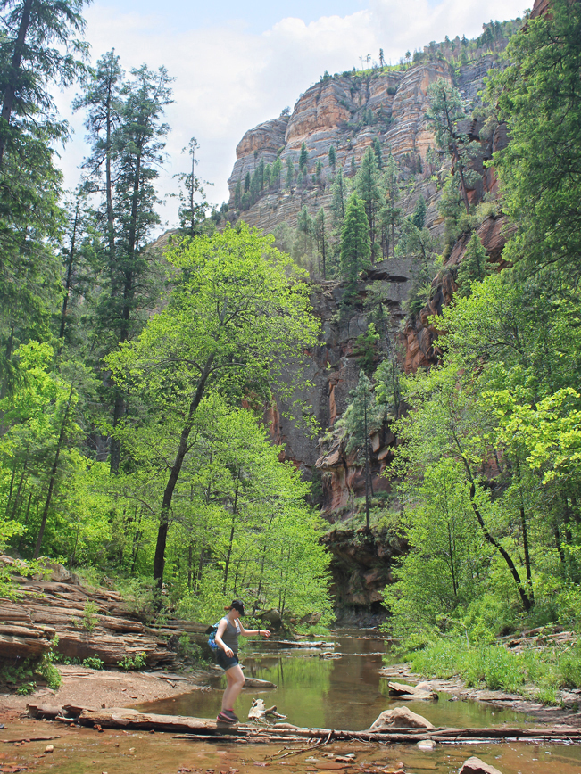 Landscape, Woman, Hiker, Creek, Sedona, Arizona, West Fork Hiking Trail, Red Rocks, Cliffs, Easy Hikes, Sedona Area Hikes, Family Friendly Hikes, Pet Friendly Hikes.