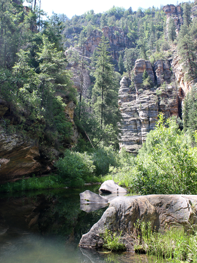 A landscape view of West Clear Creek beneath the walls of the canyon, from the Maxwell Hiking Trail. Outside of Flagstaff and Strawberry, Arizona. Moderate Hiking Trails. Flagstaff area hiking trails. Arizona hiking trails with water. Copyright AZUtopia. No use without permission.