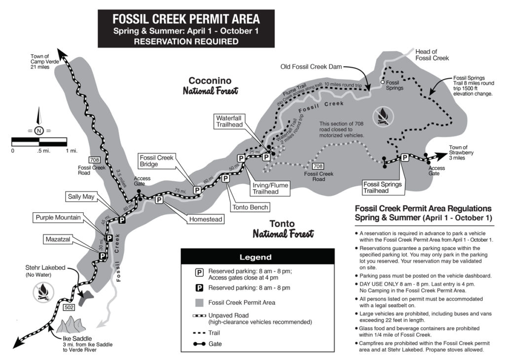 Map of Fossil Creek Wilderness Area Trails and Parking Lots