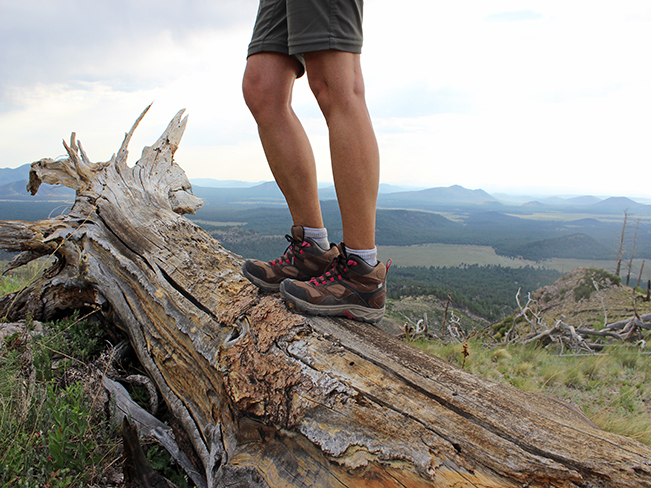 A landscape view of a hiker, standing on top of a fallen tree trunk on the Pumpkin Hiking Trail, with long views of the Flagstaff area peaks in the background. Moderate Arizona hiking trails. Flagstaff area hiking trails. Copyright azutopia. No use without permission.
