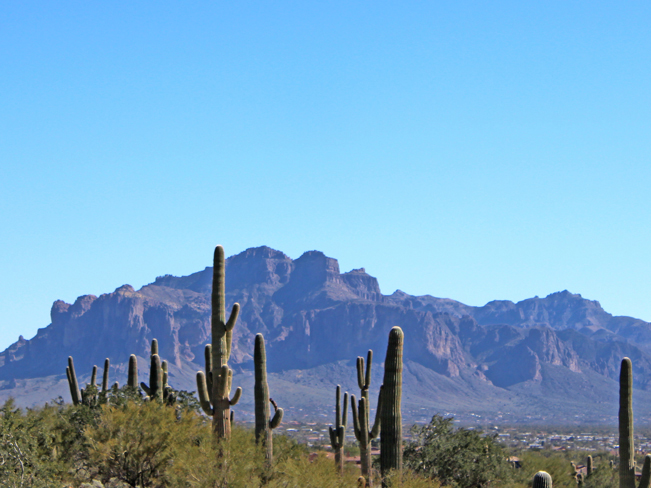 A landscape view of the Superstition Mountains with a field of Saguaros in the foreground. From Usery Park's Pass Mountain Hiking Trail Loop, outside of Mesa Arizona. Phoenix area hiking trails. Moderate hiking trails. Copyright azutopia. No use without permission.