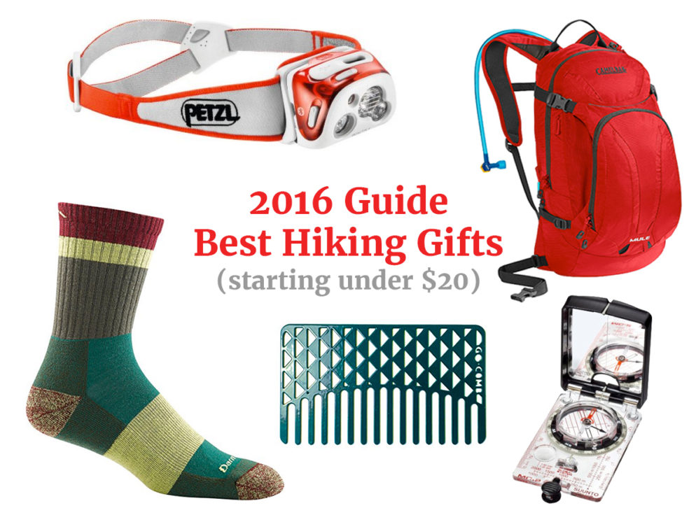 Best Hiking Gifts, Petzle Headlamp, Under $20, Camelbak Mule Hydration Backpack, SmartWool Socks Go Comb, Suuto Global Compass. azutopia.com