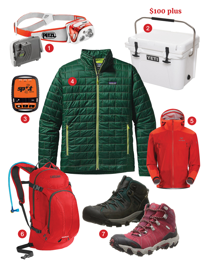 Best Hiking Gifts, $100 plus, Petzle headlamp, Petzle Rechargeable battery, Yeti Cooler, Spot GPS System, Arc'teryx Rainjacket, Camelbak Mule Hydration Pack, Oboz BDry Hiking Boots, Keen Targhee Hiking Shoes, Patagonia Nanopuff Jacket. azutopia.com