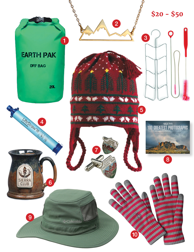 Best Hiking Gifts, $20-$50, Earth Pak Dry Bag, Mountain Necklace by Nikola Jewelry, Osprey Hydration Cleaning Kit, LifeStraw, Turtle Fur Wool Hat, Arizona Highways 100 Greatest Photographs Hardcover Book, Sierra Club Mug, SmartWool Liner Gloves, Columbia Carl Beak Booney Hat, Vintage Grand Canyon Cuff Links. azutopia.com