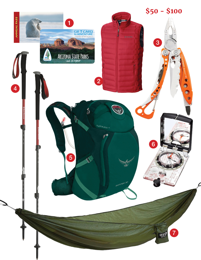 Best Hiking Gifts, $50-$100, Annual National Parks Pass, Annual Arizona State Parks Pass, Maricopa County Parks Pass, Columbia Down Vest, Leatherman Skeletool RX, Black Diamond Trekking Poles, Osprey Skimmer Hydration Backpack, Suunto Global Compass, Eno Hammock