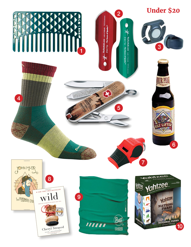 Hiking gifts, under $20, Smartwool socks, Go Comb, Osprey Magnet, Four Peaks Beer, Swiss Army Knife, Sonik Blast whistle, Joun Muir Essays, Wild, Buff Headwear, Yahtzee, azutopia.com