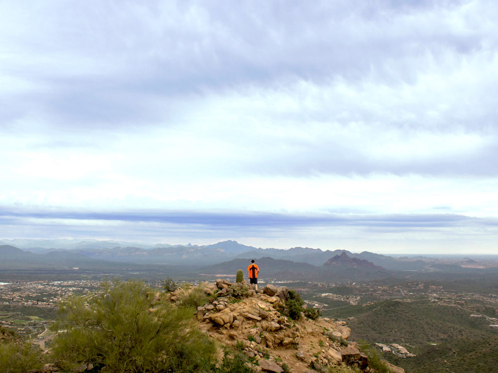 Hiker; Hiking; Sunrise Mountain; Sunrise Peak; McDowell Mountains; McDowell Mountain Preserve; Scottsdale; Arizona; Desert; Views; Sunrise Hiking Trail; Copyright AZutopia
