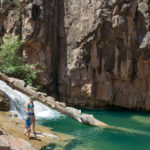 Water Wheel Hiking Trail; Payson; Arizona; Easy Hikes; Water Hikes; Waterfall; Swimming Hole; Hikers; Cliffs; Arizona Summer Hikes