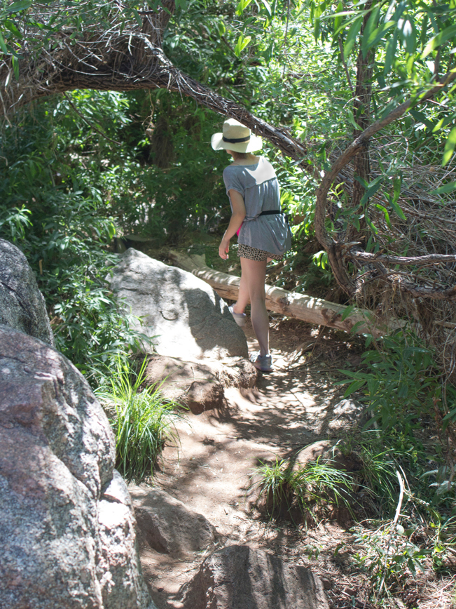 Hiker; Water Wheel Hiking Trail; Payson; Arizona; Easy Hikes; Water Hikes; Creek; Boulders; Arizona Summer Hikes; Boulders; Trees