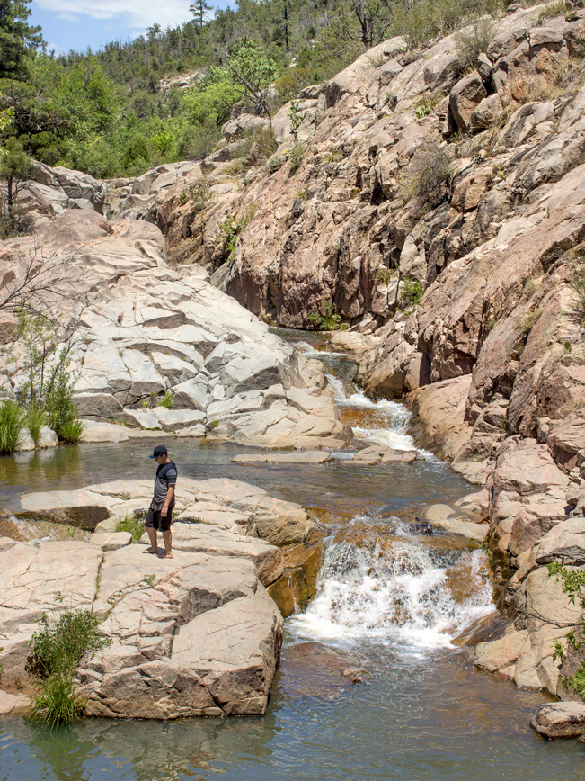 Water Wheel Hiking Trail; Payson; Arizona; Easy Hikes; Water Hikes; Waterfall; Swimming Hole; Hikers; Cliffs; Arizona Summer Hikes; Confluence