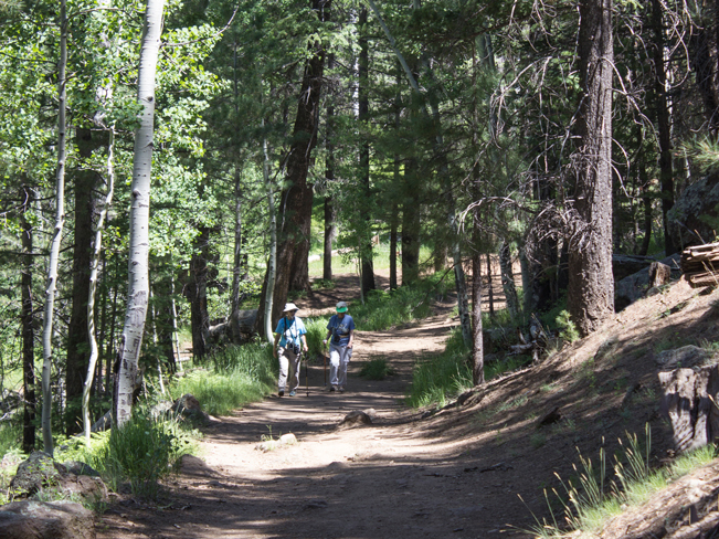 Veit Hiking Trail; Flagstaff; Arizona; Hikers; Mountain; Northern Arizona Hiking Trails; Easy Hiking Trails; Family Friendly Hiking Trails; Dog Friendly Hiking Trails. Copyright azutopia.com. No use without permission.
