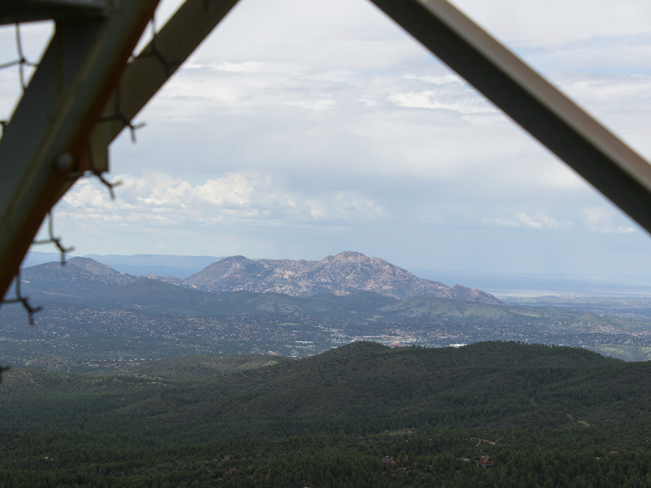 View of Granite Mountain and Watson and Willlow Lakes from beneath the watchtower at the top of Groom Creek Hiking Trail; Prescott; Arizona; Prescott National Forest; Spruce Mountain; Moderate Hiking Trails; Pet Friendly Hiking Trails. Copyright azutopia.com. No use without permission.