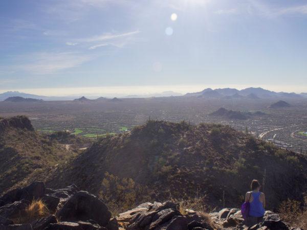 Hiker; Black Mountain Hiking Trail; Cave Creek; Arizona; Phoenix Area Hiking Trails; Central Arizona Hiking Trails; Difficult Hiking Trails; North Phoenix Views; copyright azutopia.com; No use without permission