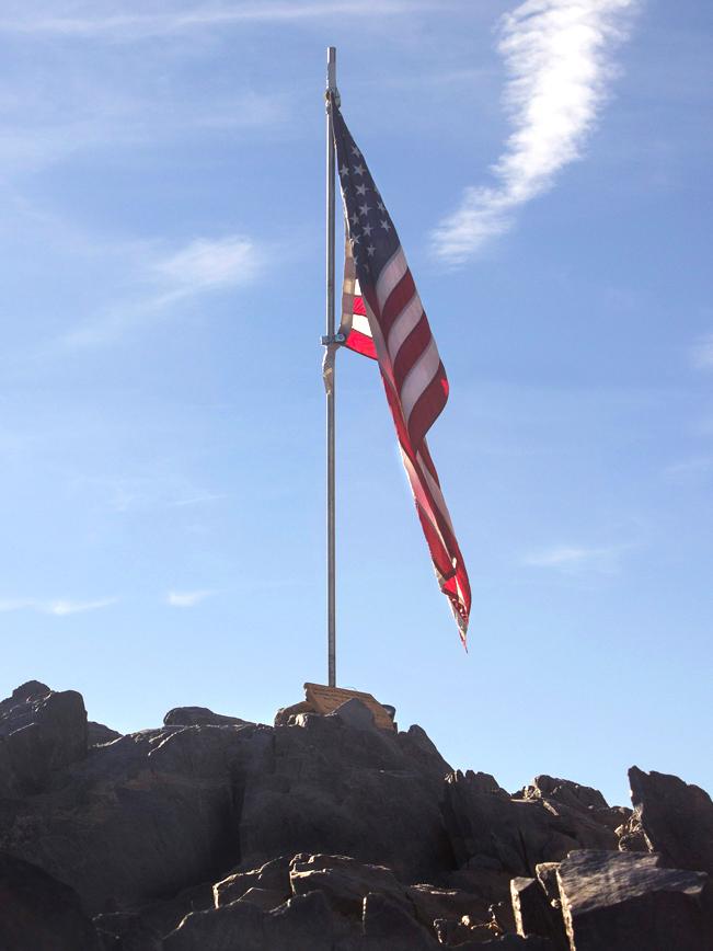American Flag; Peak; Black Mounatin; Black Mountain Hiking Trail; Cave Creek; Arizona; Phoenix Area Hiking Trails; Central Arizona Hiking Trails; Difficult Hiking Trails; copyright azutopia.com; No use without permission