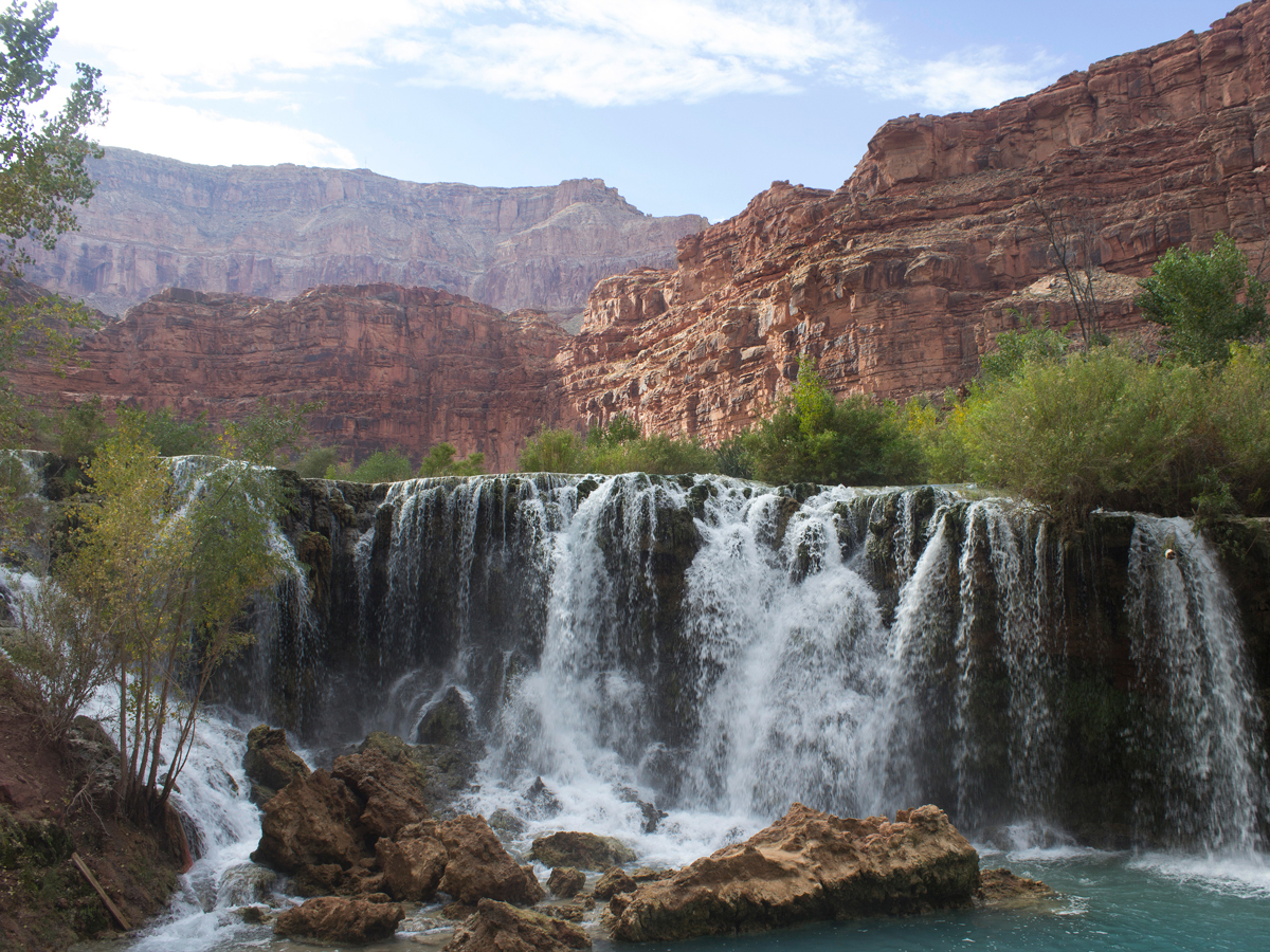 50 Foot Falls; Havasu Canyon; Havasu Falls Hiking Trail; Northern Arizona; Arizona; Havasu River; Turquoise Water; Waterfall; River; View; Canyon; Havasupai; Supai; Arizona; Northern Arizona Hikes; Difficult Hikes; Copyright azutopia.com. No use without permission