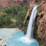 Havasu Falls; Waterfall; Turquoise Water; River; Havasu Canyon; Hikers; Havasu Falls Hiking Trail; Northern Arizona; Arizona; Havasu River; View; Canyon; Havasupai; Supai; Arizona; Northern Arizona Hikes; Difficult Hikes; Copyright azutopia.com. No use without permission