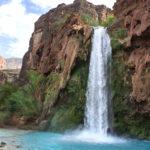 Havasu Falls; Northern Arizona; Arizona; Havasu River; Havasu Canyon; Turquoise Water; Waterfall; River; View; Canyon; Havasupai; Supai; Arizona; Northern Arizona Hikes; Difficult Hikes; Copyright azutopi.com; No use without permission