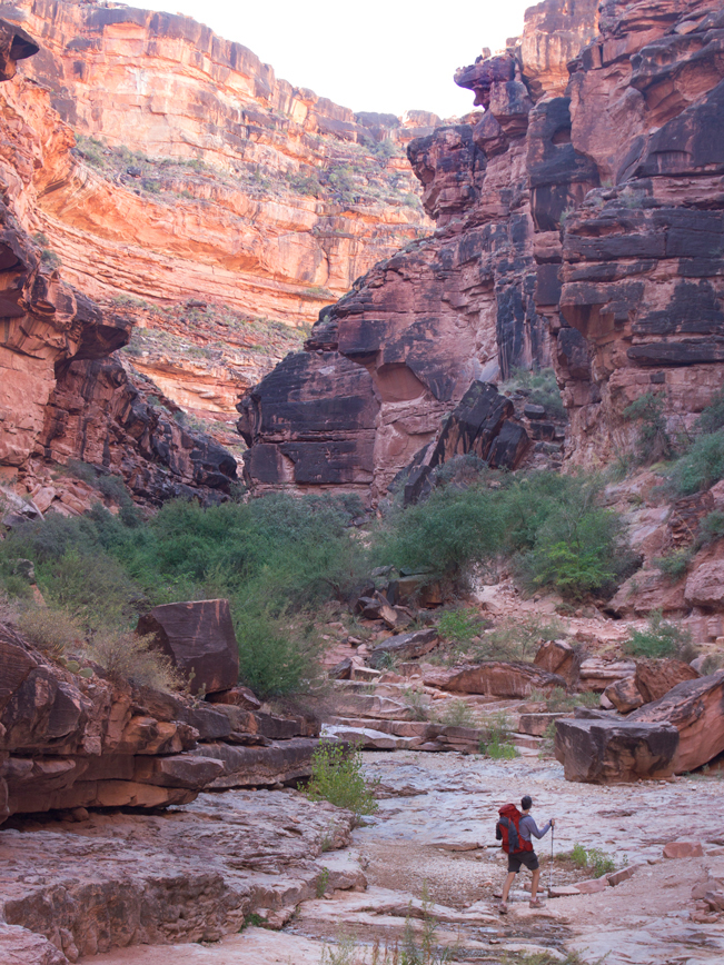 Hiker; Haulapai Canyon; Havasu Canyon; Havasu Hiking Trail; Havasupai Reservation; Havasupai; Grand Canyon; Canyon; View; Cliffs; Copyright azutopia.com. No use without permission.