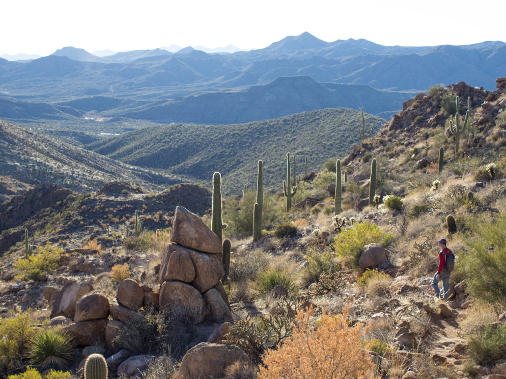Hiker; Ballantine Hiking Trail; Trail; View; Beeline Highway; Rock Formations; Arizona; Central Arizona Hiking Trails; Moderate Hiking Trails; Mazatzal Mountains; Tonto National Forest; Dayhikes; Copyright azutopia.com. No use without express written permission.