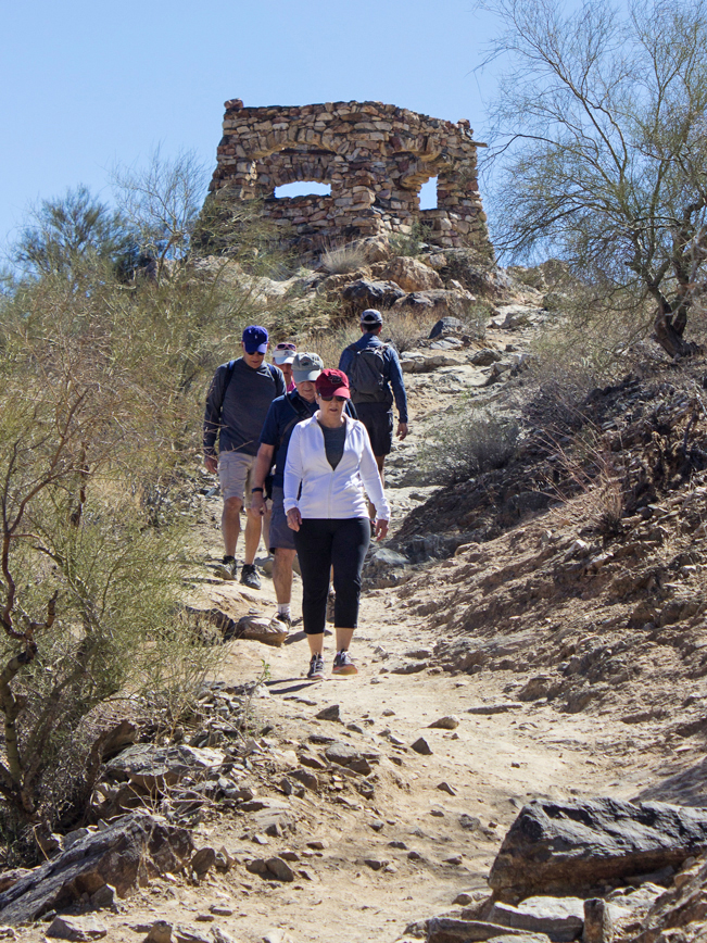 Hikers; Lookout; Kiwanis Hiking Trail; National Hiking Trail; Phoenix Area Hikes; Easy Hikes; Dog Friendly Hikes; Central Arizona Hikes; South Mountain Preserve; Telegraph Pass Lookout; Copyright azutopia.com. No use without written permission.