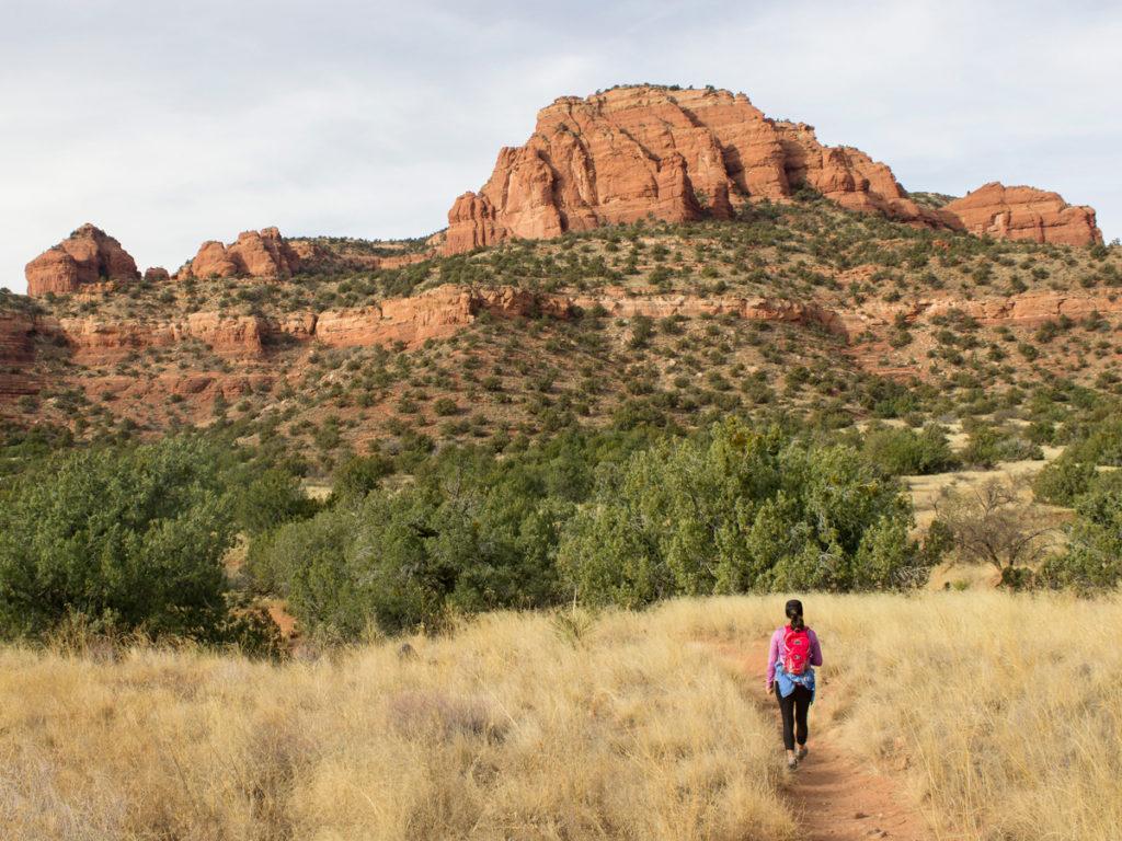 Hiker; Bear Mountain Hiking Trail; Bear Mountain; Sedona; Arizona; Views; Difficult Hiking Trails; Northern Arizona Hiking Trails; Red Rocks; Copyright azuopia.com. No use without express written permission.