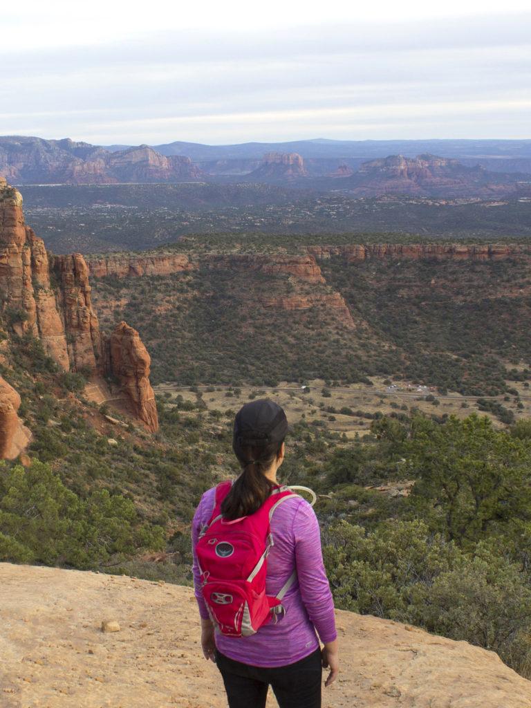 Hiker; Bear Mountain Hiking Trail; Bear Mountain; Sedona; Arizona; Views; Doe Mountain; Difficult Hiking Trails; Northern Arizona Hiking Trails; Red Rocks; Mesa; Copyright azuopia.com. No use without express written permission.