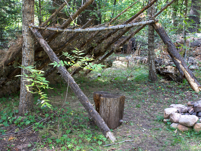 Lean-To; Firepit; Campsite; See Canyon Hiking Trail; Payson; Arizona; Mogollon Rim; Pine Trees; Moderate Hiking Trails; Pet Friendly HIking Trails; Central Arizona; Copyright azutopia.com; No use without permission.