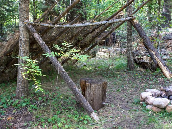 Lean-To; Firepit; Campsite; See Canyon Hiking Trail; Payson; Arizona; Mogollon Rim; Pine Trees; Moderate Hiking Trails; Pet Friendly HIking Trails; Central Arizona; Copyright azutopia.com; No use without permission.