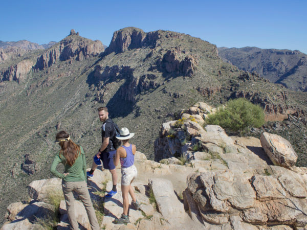Hikers; Standing on Ridge; Peak; Blacketts Ridge Hiking Trail; Sabino Canyon; Santa Catalina Mountains; Mountain View; Tucson; Arizona; Difficult Hiking Trails; Tucson Area Hiking Trails; Copyright azutopia.com; No use without permission.