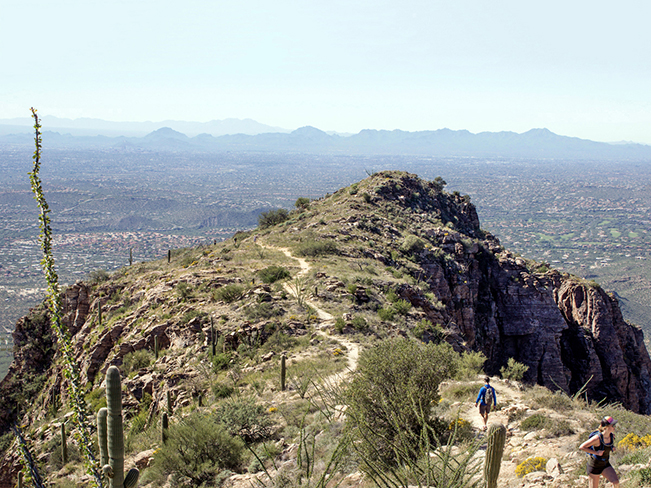 Hikers; Ridge; Peak; Blacketts Ridge Hiking Trail; Sabino Canyon; Santa Catalina Mountains; View over Tucson; Tucson; Arizona; Difficult Hiking Trails; Tucson Area Hiking Trails; Copyright azutopia.com; No use without permission.