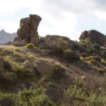 Large Rock Formations; McDowell Mountain Preserve; Phoenix; Arizona; Marcus Landslide Hiking Trail; Boulders; Hill; Mountains. Copyright azutopia.com. No use without permission.