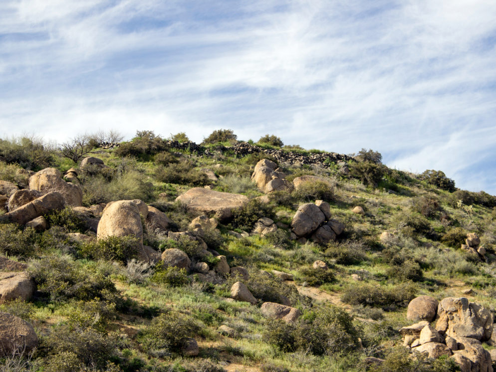 Hilltop; Hohokum; Native American Ruins; Boulders; Blue SKy; Sears Kay Hiking Trail; Cave Creek; Arizona; Copyright azutopia.com; no use without permission.