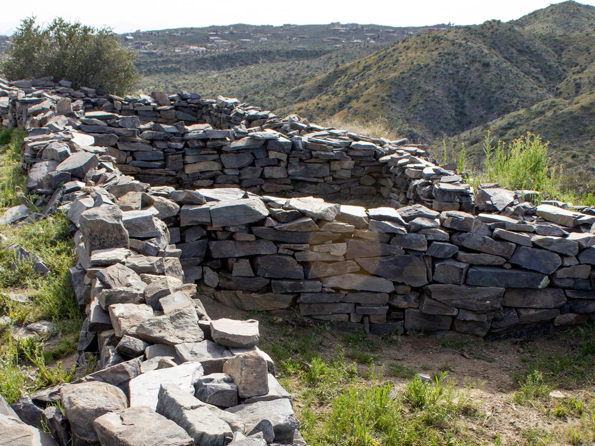 Hilltop; Hohokum; Native American Ruins; Walls; Stones; Hills; Sears Kay Hiking Trail; Cave Creek; Arizona; Copyright azutopia.com; no use without permission.