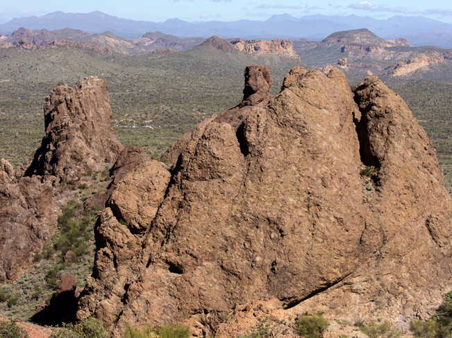 View from top of Treasure Trail Hiking Loop; Lost Dutchman State Park; Superstition Mountains; Arizona; Cliffs; Rock Formations; Views of Usary Park and Goldfield Mountains; Copyright azutopia.com. No use without permission.