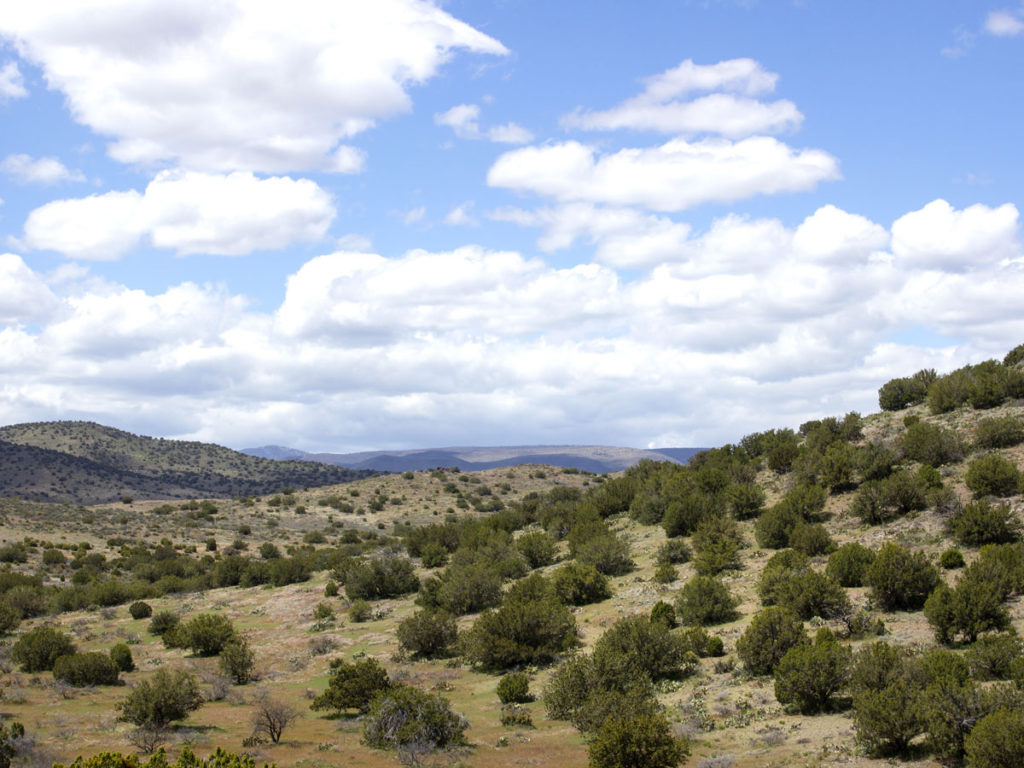 Landscape view; Blue Sky; Clouds; Rolling Hills; Prairie; Black Canyon Hiking Trail; Mayer; Central Arizona; Drinking Snake Trail Segment; Easy Hiking Trails. Copyright azutopia.com. No use without permission.