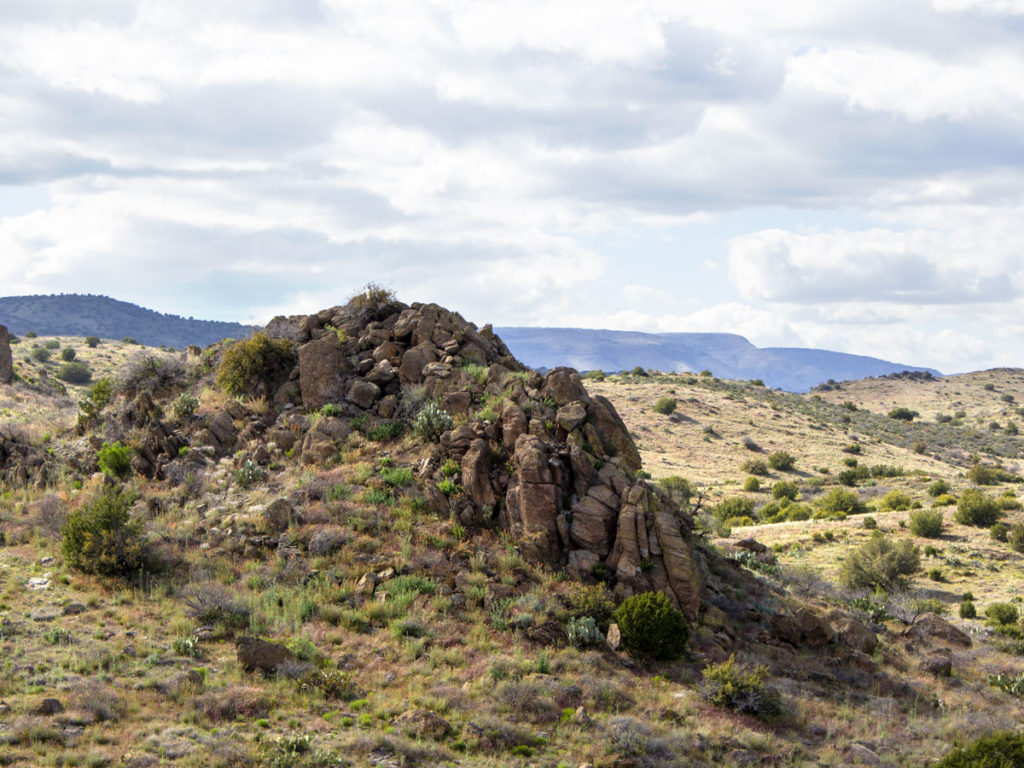 Landscape view; Blue Sky; Clouds; Rolling Hills; Rocky Outcropping; Scrub; Prairie; Black Canyon Hiking Trail; Mayer; Central Arizona; Drinking Snake Trail Segment; Easy Hiking Trails. Copyright azutopia.com. No use without permission.