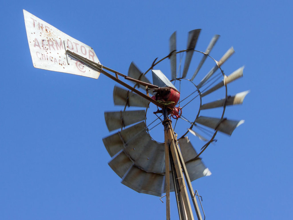 Top of Windmill; Blowing; Blue sky. Black Canyon Hiking Trail; Mayer; Central Arizona; Drinking Snake Trail Segment; Easy Hiking Trails. Copyright azutopia.com. No use without permission.