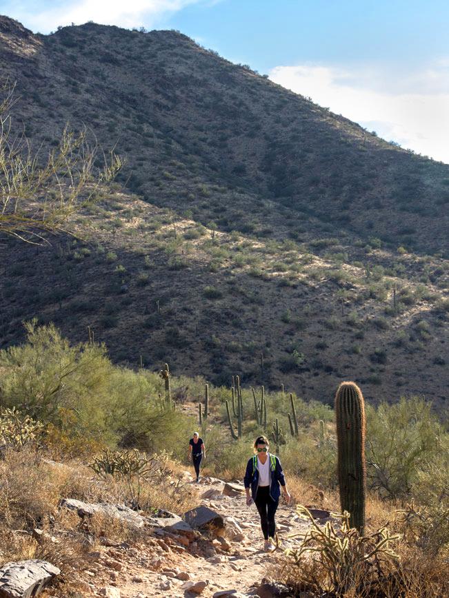 Hiker, Gateway Hiking Trail Loop, North side, Arizona, Scottsdale, Phoenix Area Hiking Trail, Moderate Hiking Trail, Dog Friendly Hiking Trail, Gateway Mountain, McDowell Mountains, Saguaros, Copyright azutopia.com, No use without permission
